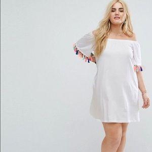 Dresses & Skirts - White Tassel Pom Mini Dress